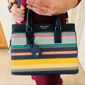 KATE SPADE CAMERON MEDIUM SATCHEL BOARDWALK STRIPE